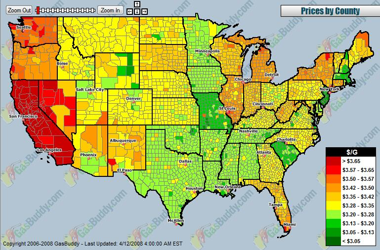 US Gas prices by county